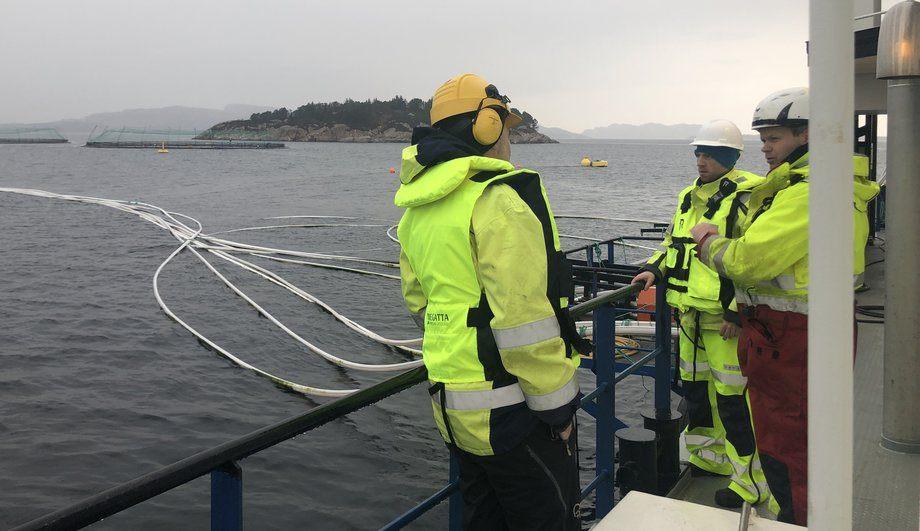 Bildet er fra et av anleggene til Lerøy, som i samarbeid med BKK har fått støtte til å elektrifisere 24 oppdrettsanlegg i Hordaland. Foto: Lerøy