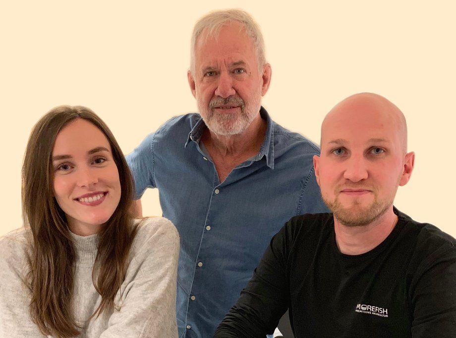 Steinar Skybakmoen, John-Are S. Freland og Mari B. Birkeland er ny i Morefish. Foto: Morefish