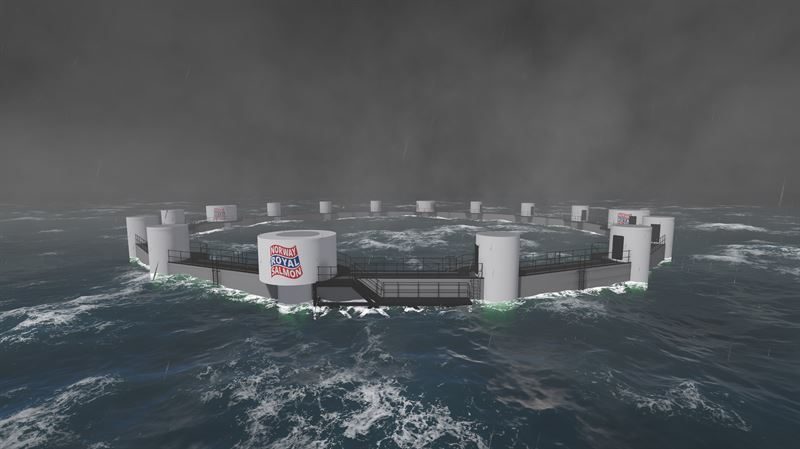 The Arctic Offshore Farming cage uses a lot of technology used in floating rigs, and can hold 3,000 tonnes of salmon. Image: NRS.