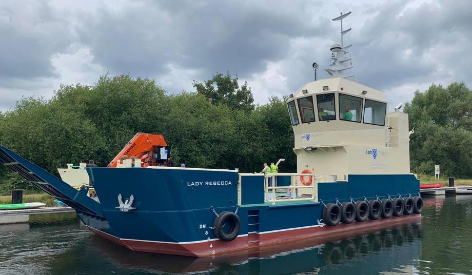 Damen is ordering three more 1608 landing utility vessels like the Lady Rebecca supplied to salmon farmer Loch Duart. Photo: Damen.