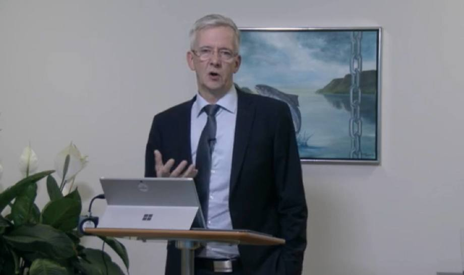 Regin Jacobsen outlines some of Bakkafrost's plans for the Scottish Salmon Company today. Image taken from Bakkafrost video.