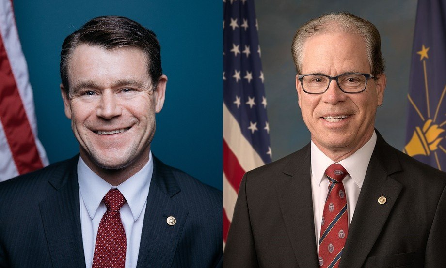 Indiana senators Todd Young, left, and Mike Braun are attempting to prevent a new block on AquaBounty's fish reaching consumers.
