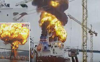 Eksplosjon i Stolt-tanker i Korea. Foto: maritime.bulletin.net