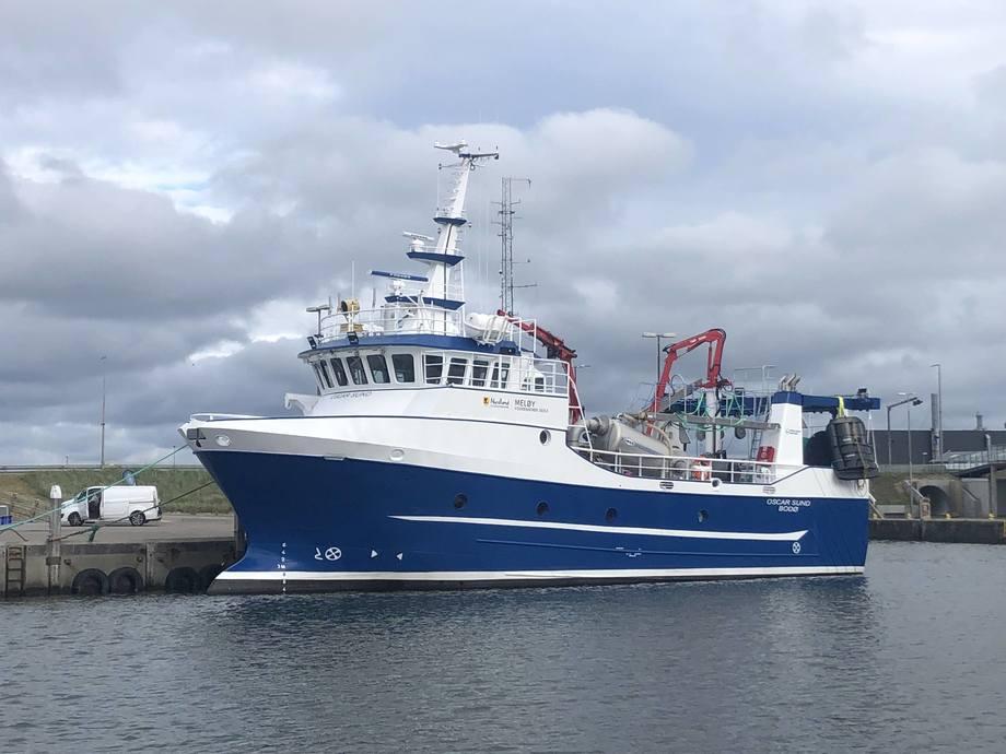 Den nye opplæringsbåten «Oscar Sund» er overlevert til Meløy Videregående skole fra Hvide Sande Shipyard i Danmark. Foto: Hvide Sande Shipyard