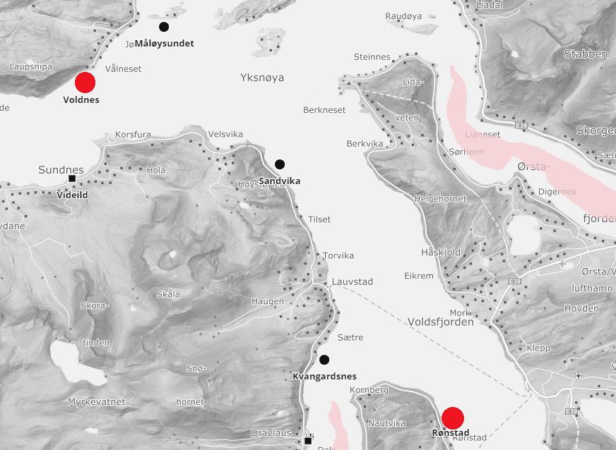 Rømming skjedde på lokaliteter Voldnes og Rønstad på Sunnmøre. Skjermdump: BarentsWatch.