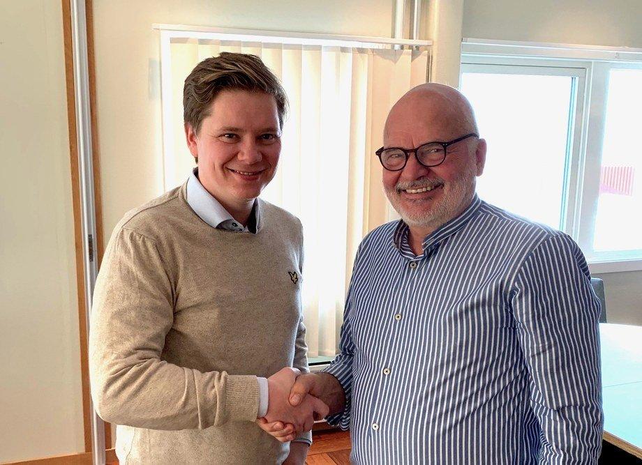 Styreleder Roy Bernt Pettersen og ny administrerende direktør Martin Rasmussen i Andfjord Salmon. Foto: Andfjord Salmon.
