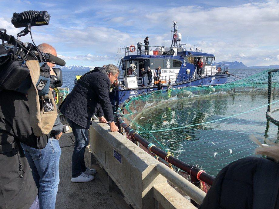 Algeoppblomstringa ramma oppdrettsnæringa i Nord-Norge. Bildet er tatt hos Mortenlaks under fiskeriminister Harald T. Nesvik sitt besøk i mai 2019. Foto: Nærings- og fiskeridepartementet