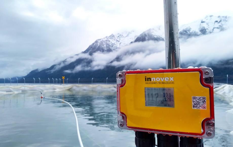 Sistema de Innovex operando en la actividad salmonicultora chilena. Foto: Innovex.
