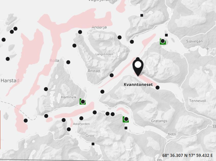Det er misstanke om ILA hos lokalitetene til Salaks på Kvanntoneset i Troms. Foto: Barentswatch Fiskehelse