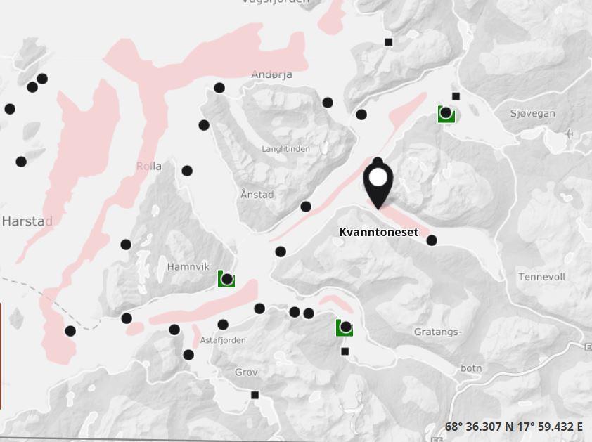 Det er påvist ILA ved lokalitet Kvanntoneset. Foto: Barentswatch fiskehelse