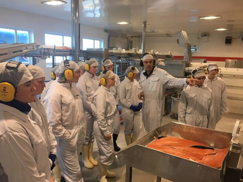 Øyvind Klingen viser jentene rundt på slakteri/videreforedling hos SinkabergHansen AS. Foto: OFNT