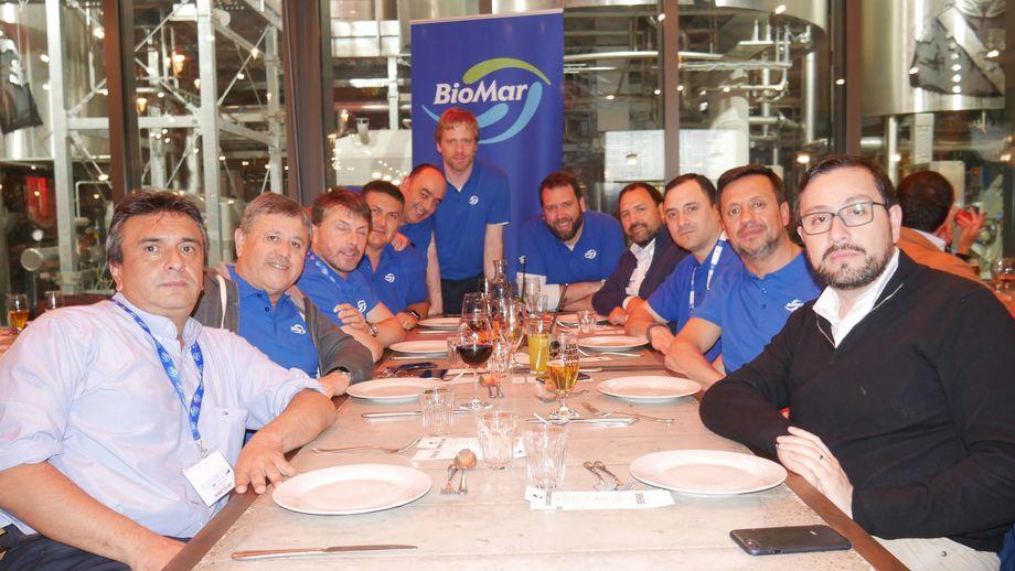 Some of the Chilean visitors to Berlin. From left: Rafael Alvarez (Australis); Hugo Cajas (Salmones Camancha); Cristian Delgado (Multiexport); Francisco Lobos (Multiexport); Esteban Parada (BioMar); Cristian Dominik (BioMar); Michael Adler (BioMar); Jaime Munoz (Sealand Aquaculture); Pablo Albistur (Blumar); Eduardo Suazo (BioMar); Claudio Rabanal (Australis). Photo: Gareth Moore / FFE.