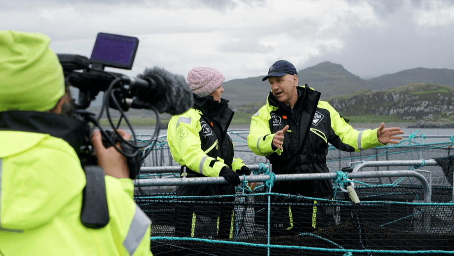 Wester Ross director David Robinson explains the company's approach to presenter Cherry Healey during filming. Photo: Barbora Gaborova / Wester Ross.