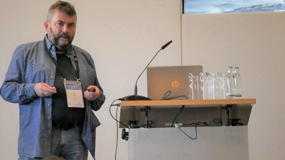 Laksefjord chief executive Bjørn Hovrud speaking at the Nordic RAS conference held in Berlin last week. Photo: SSF.