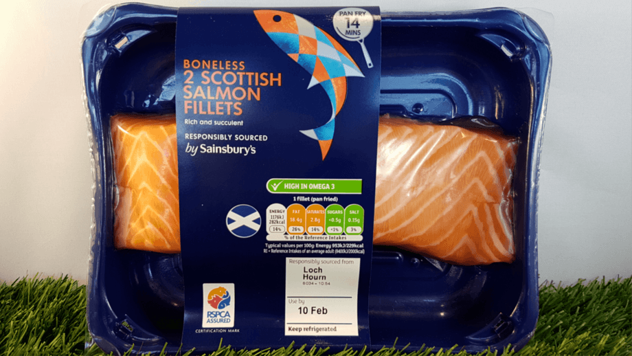 Sainsbury's salmon fillets with the RSPCA Assured logo, which is now recognised by more than half of shoppers. Photo: RSPCA Assured.