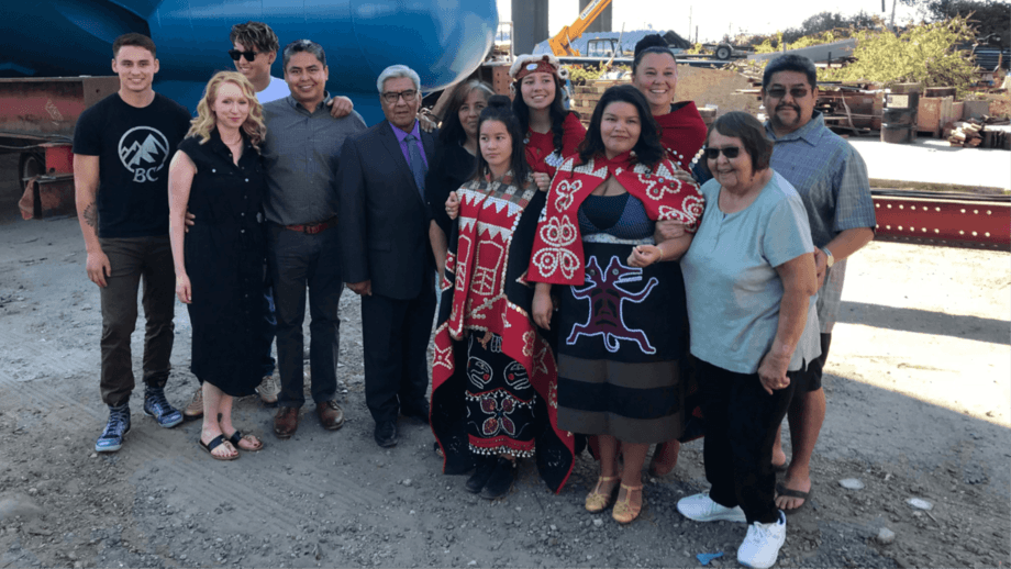 Aquaculture boat operator James Walkus, fifth from left, with his family at the launch of the Can$11m Geemia Joye. Photo: James Walkus Fishing Company.