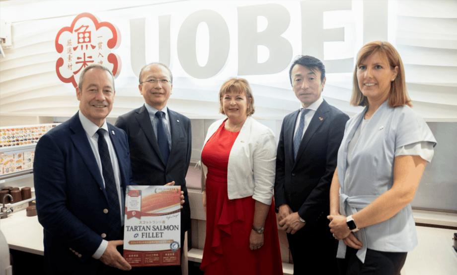 From left: Stephen Baker, SDI; Makoto Takeda, Shokuryu (suppliers); Cabinet Secretary Fiona Hyslop; Takashi Houshito, CEO, Genki Sushi; Caroline Craggs, SDI food and drink specialist. Photo: Scottish Government.