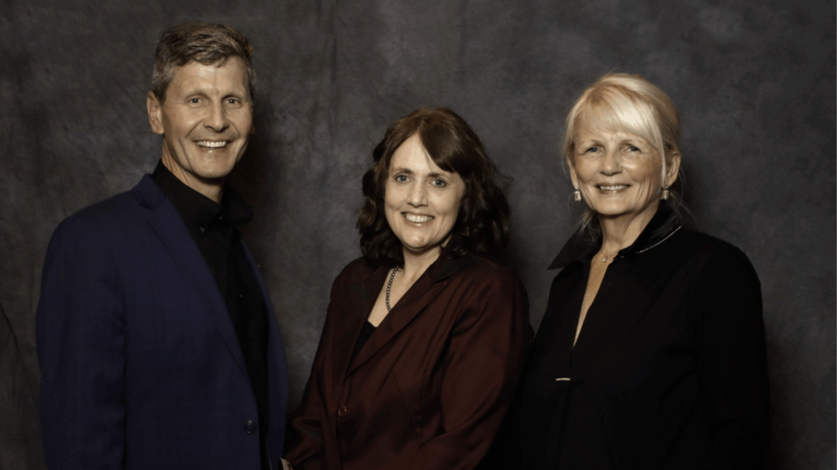 From left: Tom Taylor, chair for the ACFFA,  Leighanne Hawkins and Susan Farquharson, executive director for the ACFFA. Image: ACFFA.