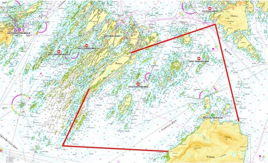 Den rømte oppdrettsfisken skal gjenfanges innenfor det geografiske området vist på kartet. Illustrasjonsbilde: Lovundlaks.