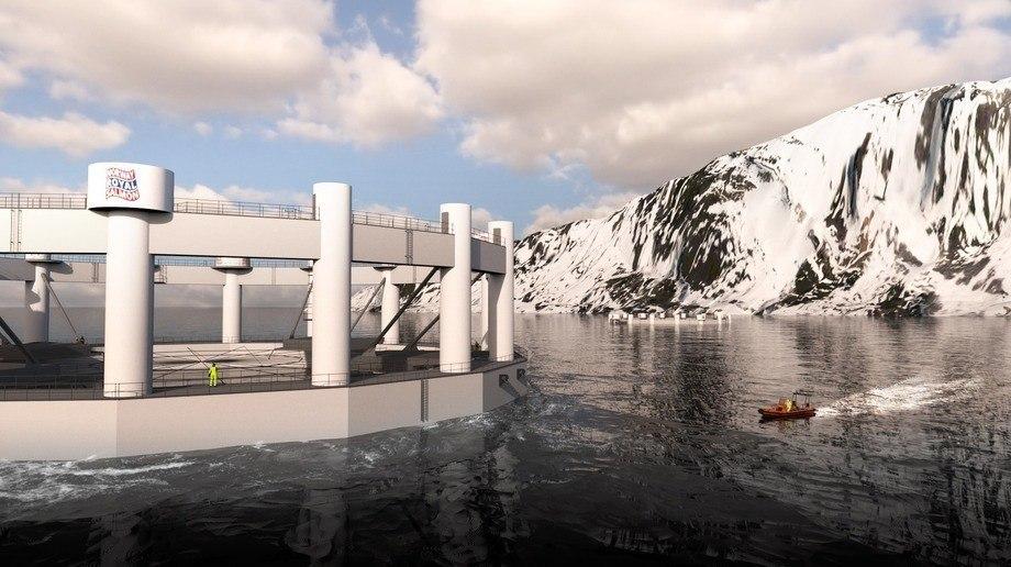 El concepto Artic Offshore Farming que fue desarrollado por Aker Solutions en colaboración con NRS, está en construcción y comenzará su producción a partir del próximo año. Ilustración: Aker Solution