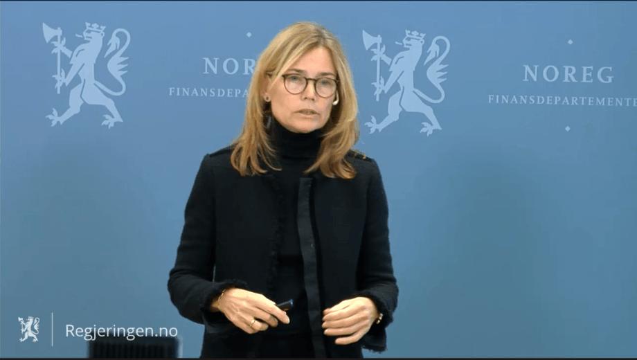 Karen Helene Ulltveit-Moe la i dag frem forslagene til beskatning av havbruksnæringen. Skjermdump fra Regjeringen.no.