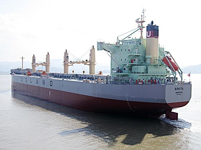 Det var ni medlemmer av mannskapet om bord MV Bonita som var kidnappet av pirater. Nå har de kommet hjem til sine familier. Foto: Ugland Rederi