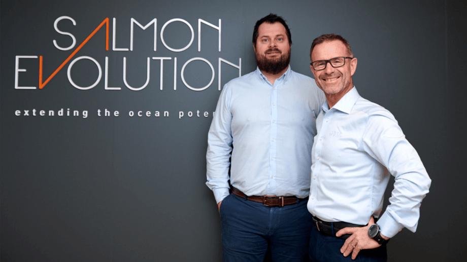 Salmon Evolution's new CFO Håkon Andrè Berg, left, with chief executive Odd Tore Finnøy. Photo: Salmon Evolution.