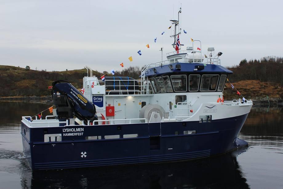 «Lysholmen» er den første av to servicefartøy Viknaslipen bygger for Grieg Seafood. Foto: Viknaslipen