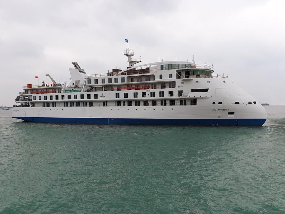 Verdens første cruiseskip med X-Bow- design er levert. Foto: Lars Ståle Skoge