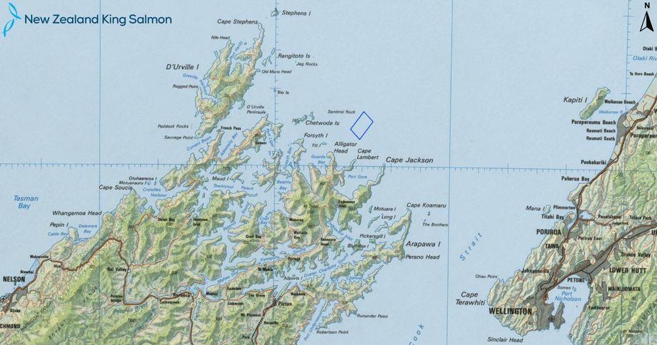 Ubicación del centro offshore que la compañía pretende instalar en Nueva Zelanda. Mapa: NZ King Salmon.