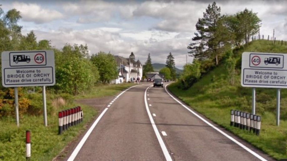 The lorry overturned on the A82 near Bridge of Orchy. Photo: BBC.