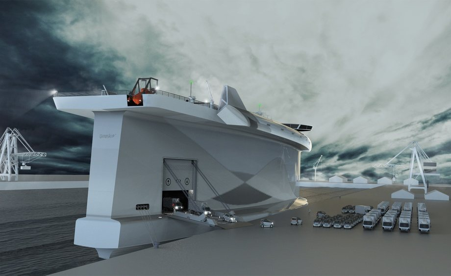 - Målet var å utvikle eit skip som i stor grad reduserer klimagassutsleppa samanlikna med andre skip i internasjonal skipsfart. I staden for å kjempe mot naturkreftene med motorkraft, utnyttar skipet vind, straum og bølgjer til framdrift, skriv selskapet. Foto: Lade AS.