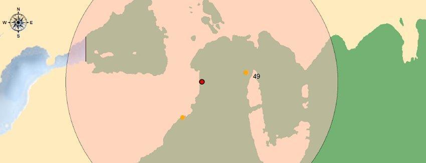 Distribución espacial del caso confirmado de virus ISA en la región de Magallanes. Imagen: Sernapesca.