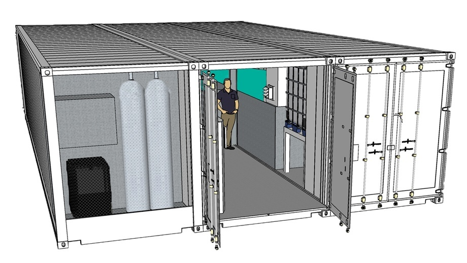 SEAWATER Cubes' €250,000 RAS facility is housed in three shipping containers. Illustration: SEAWATER Cubes.