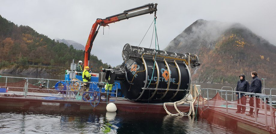 The LiceTube being lowered into a test cage at the Marine Research Institute at Matre in Hordaland, Norway. Photo: CLT.