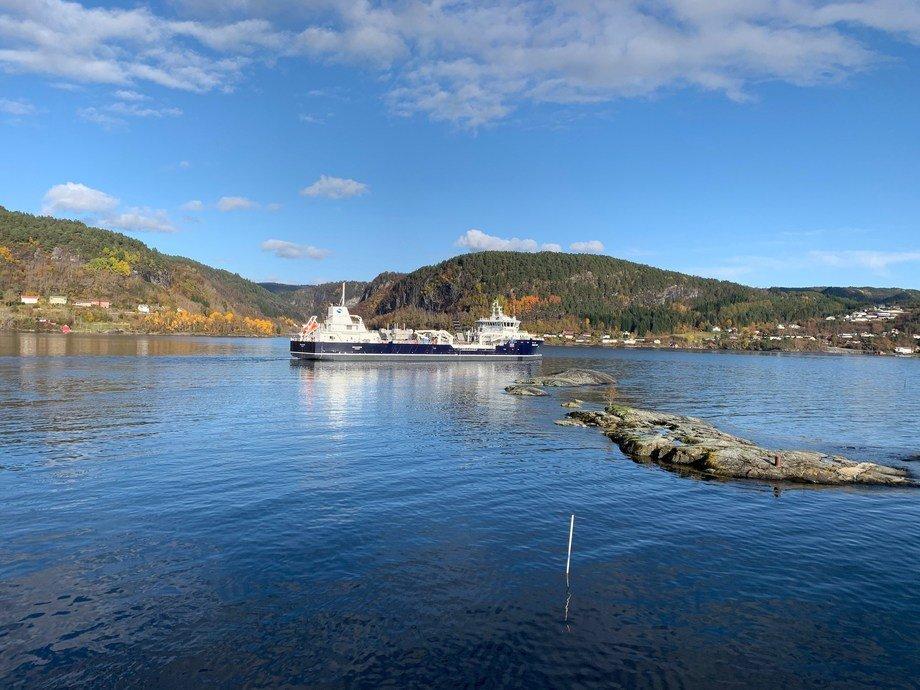 «Ronja Storm» er på prøvetur ved Havyard Ship Technology verft. Foto: Havyard Group.