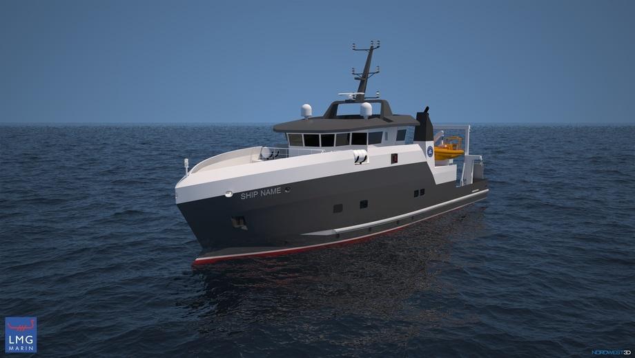 Stridens kjerne: Det nye kystforskningsfartøyet til Havforskningsinstituttet. Illustrasjon: LMG Marine