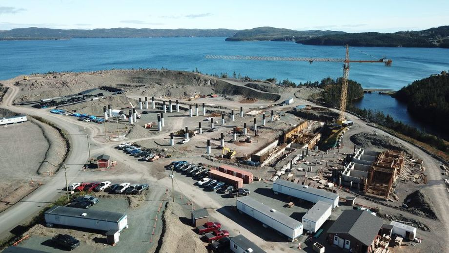 An archive photo of early work on a smolt facility being built by Grieg NL in Marystown, Newfoundland, to supply 11 farm sites. The company is now being bought by Grieg Seafood ASA.
