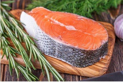 AquaBounty genetically engineered salmon steak. Image: AquaBounty
