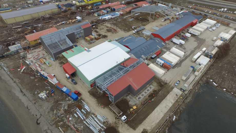 La planta conjunta de Blumar y Multiexport Foods en la región de Magallanes está en avanzada etapa de construcción. Foto: Blumar.