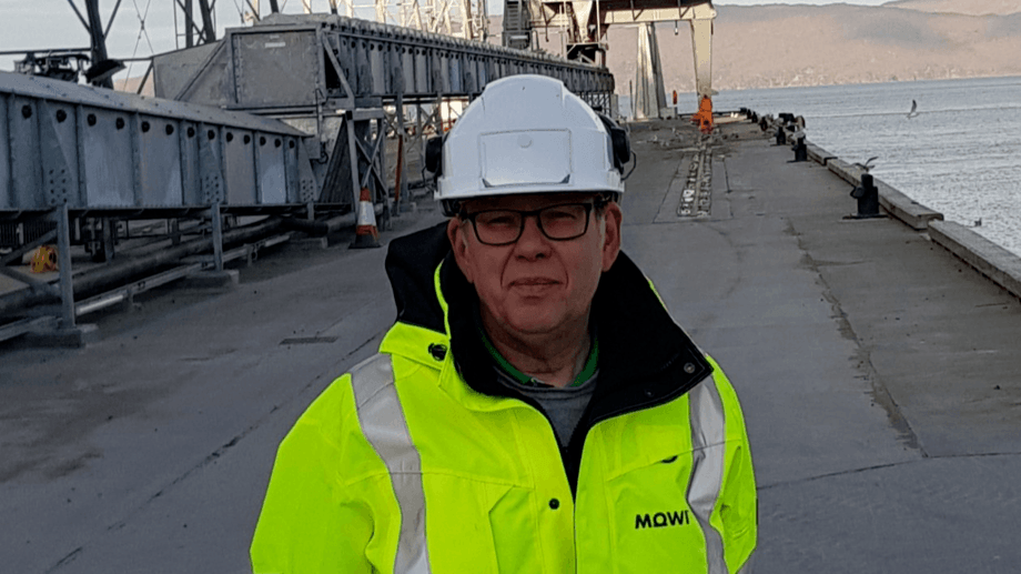 Mowi Feed Scotland managing director Claes Jonermark at the deep water pier built at Kyleakin for bulk carriers. A border control post at Kyleakin would prevent the need for raw material to be transported across Scotland by lorry. Photo: Mowi Scotland.