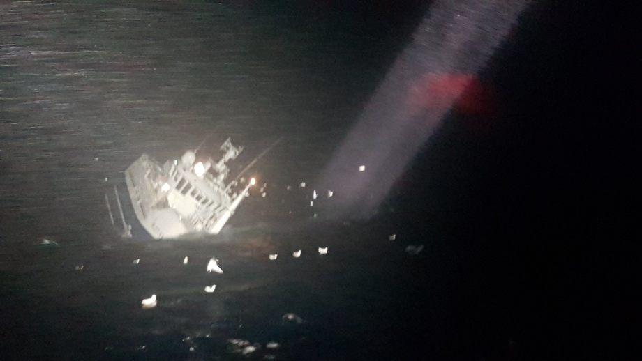 «Fay» fikk slagside og sank nordøst for Honningsvåg lørdag. Foto: Redningsselskapet