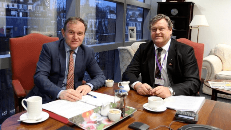 George Eustice, left, and Haralad Nesvik on one of the previous occasions where they met to discuss the implications of Brexit for Norway.