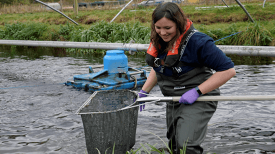Dawnfresh employee Valentina Romano, who is doing a Technical Apprenticeship in Aquaculture Management, is one of three aquaculture trainees in the ALBAS final. Photo: Brassock Films.