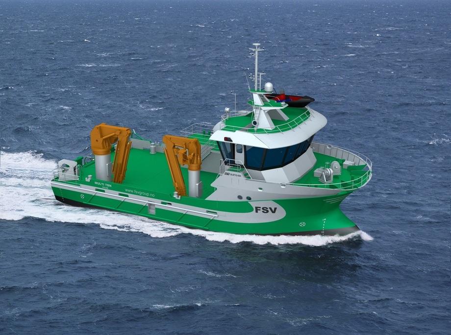 Sletta Verft har fått kontrakt på å bygge et nytt servicefartøy for FSV Group. Det skal leveres i 2021. Illustrasjon: Sletta Verft