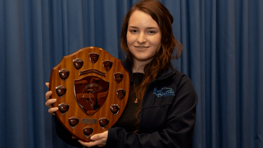 Emma Rochester, pictured with the 2019 Jim Tait Prize for Aquaculture, is a finalist in the British Education Awards. Photo: NAFC.