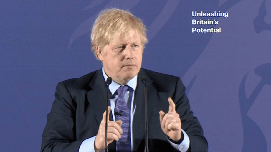 UK Prime Minister Boris Johnson today said he sees 'no need' for regulatory alignment. Image: BBC.