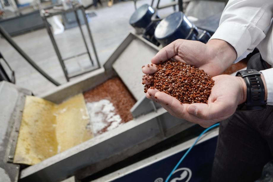 Materia prima obtenida luego de tratar los residuos salmonicultores. Foto: Comberplast.