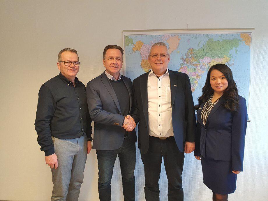 Fra venstre: Hallgeir Frøystadvåg, Geir Johan Bakke, Per Frøystad og Cherry He Li