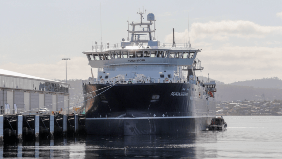 The Ronja Storm moored at Hobart port after a journey of more than 50 days from Norway. Photos: Huon Aquaculture.
